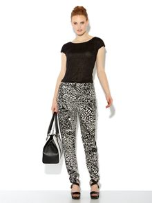 Leopard printed slouch trouser