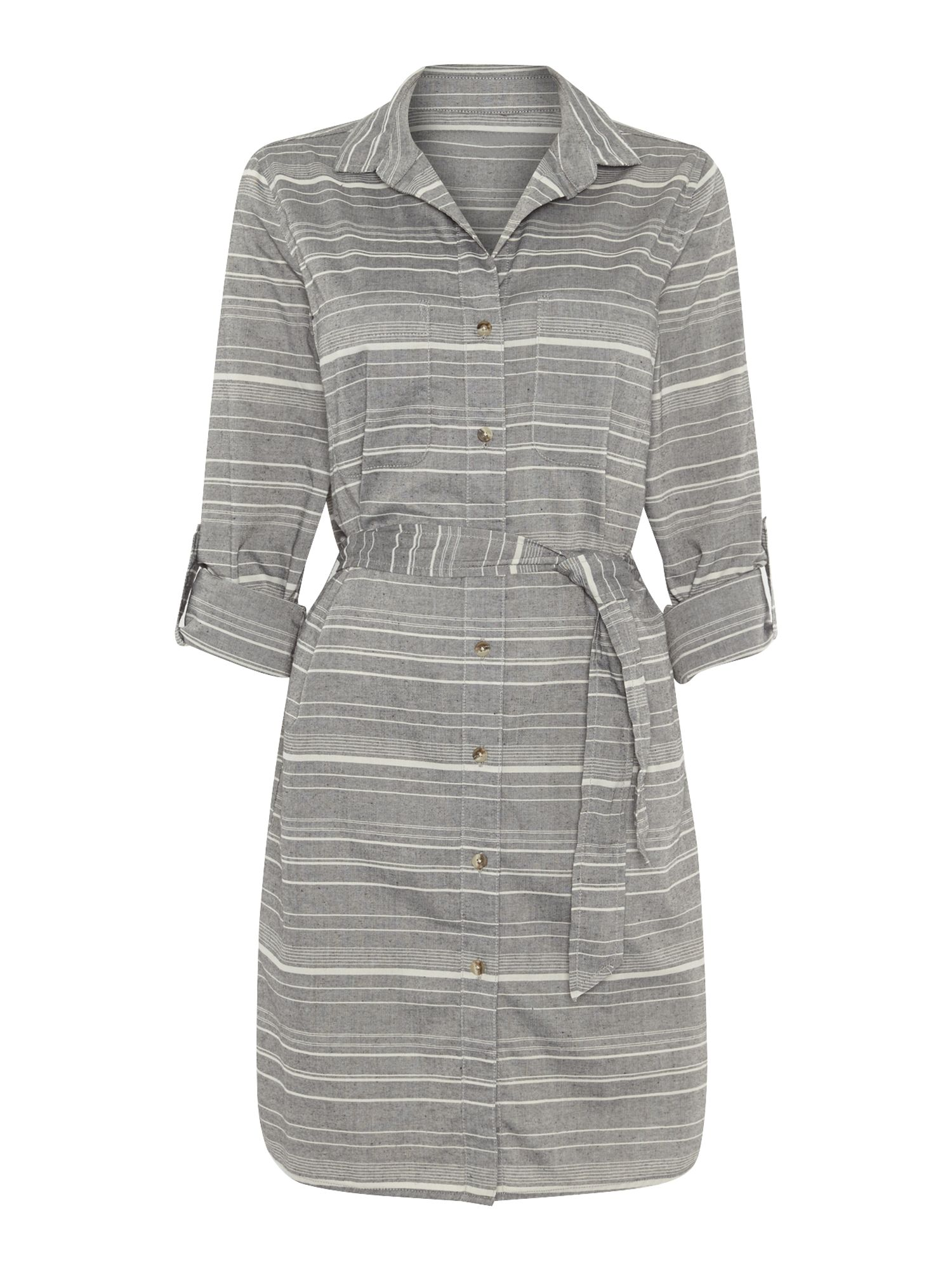 Stripe chambray shirt dress