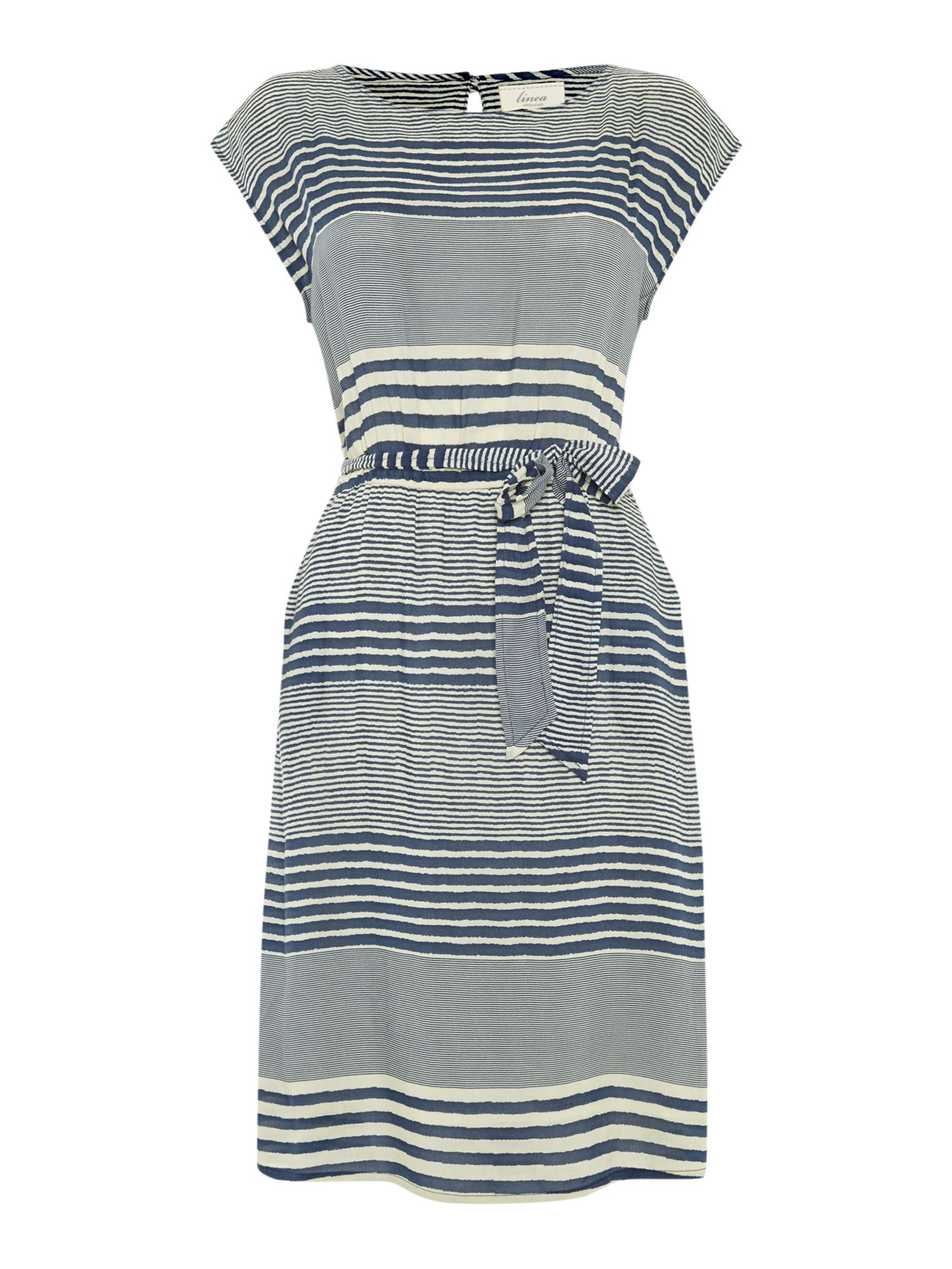 Stripe woven tie up dress
