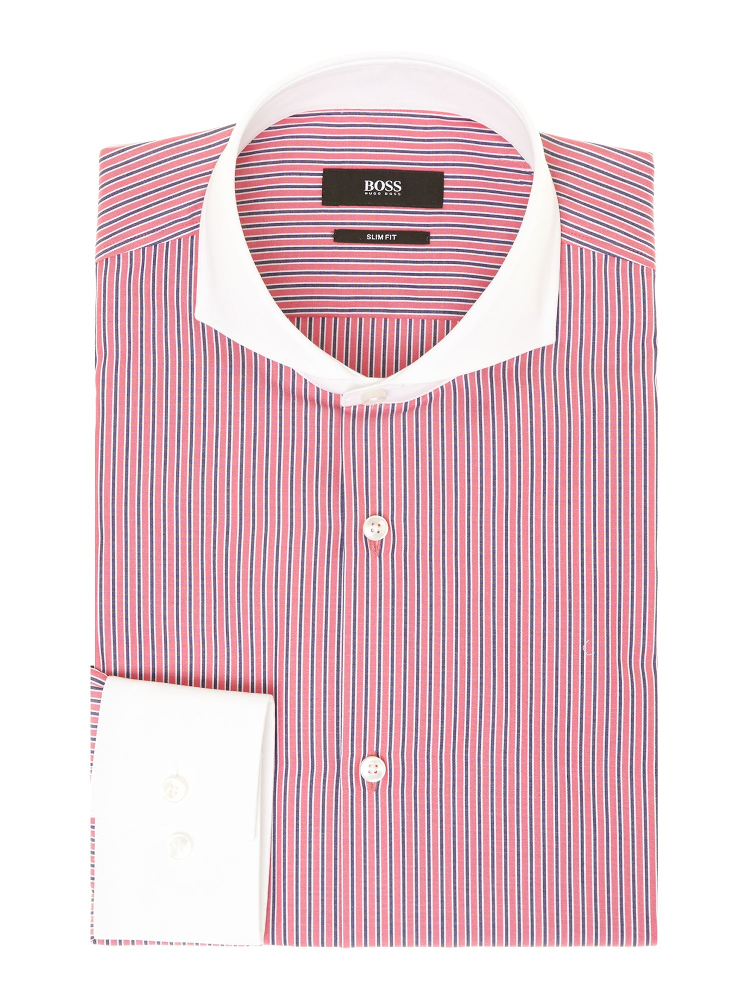 Johan contrast collar multi stripe slim fit shirt