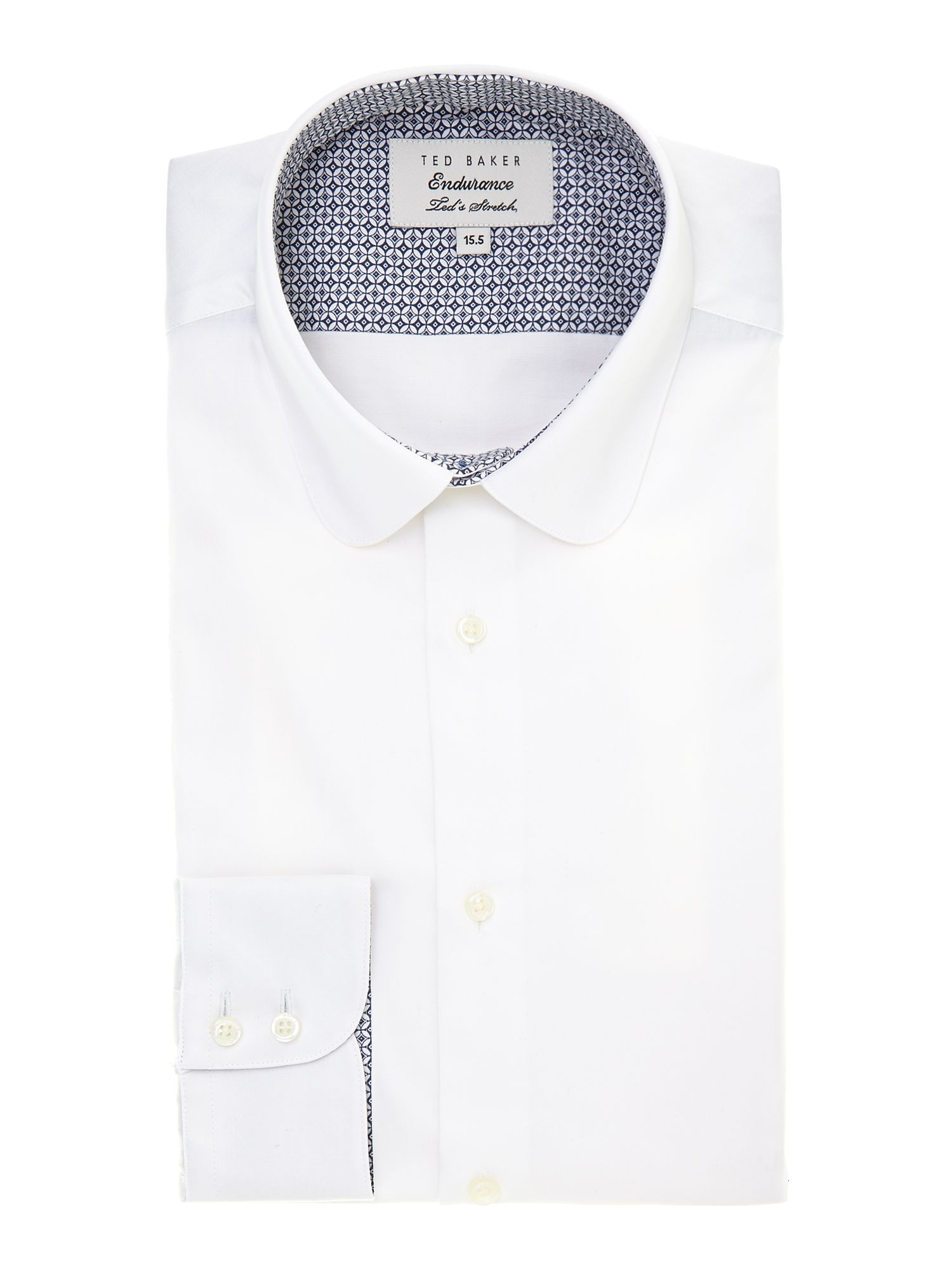 Rosecol slim fit poplin sheen penny collar shirt