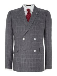 Piejak slim fit double breasted check suit jacket