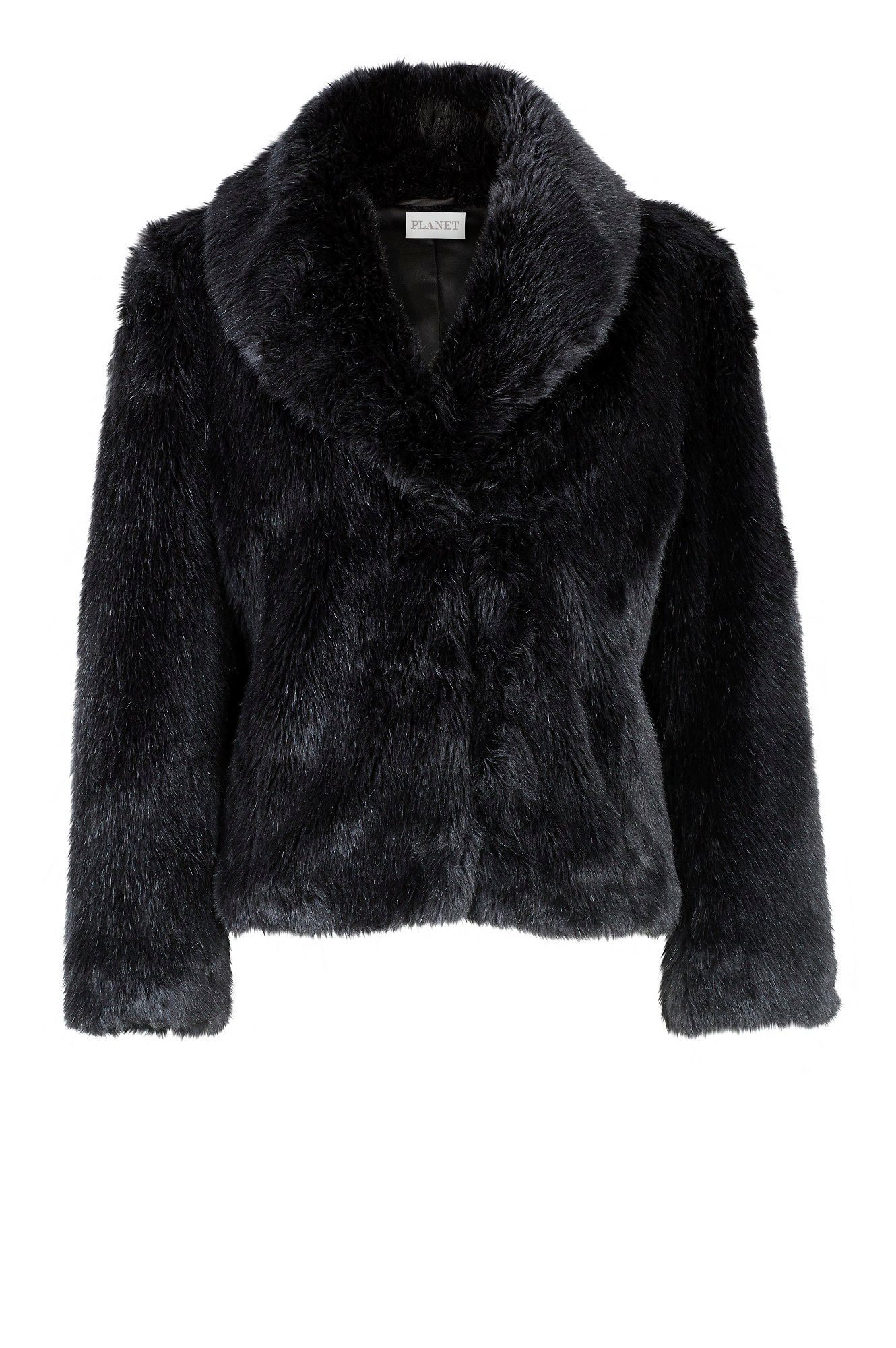 Black soft faux fur coat