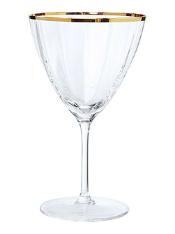 Gold rim optic crystal wine glass