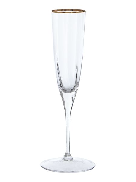 Biba Gold rim optic crystal champagne Flute