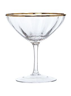 Gold rim optic crystal champagne saucer
