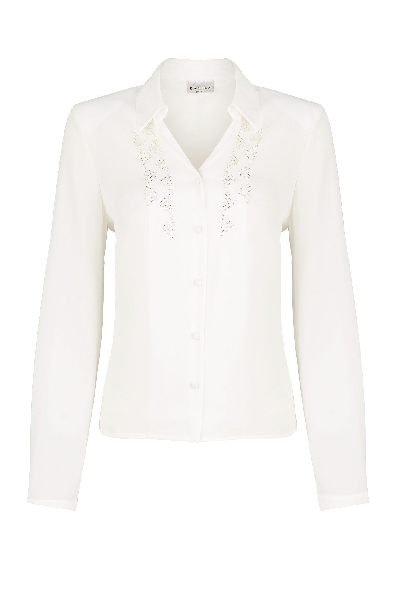 Long sleeve deco beaded blouse