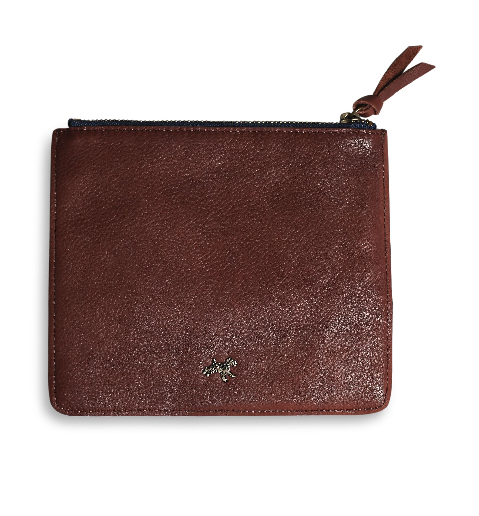 Leather zip pouch in chocolate