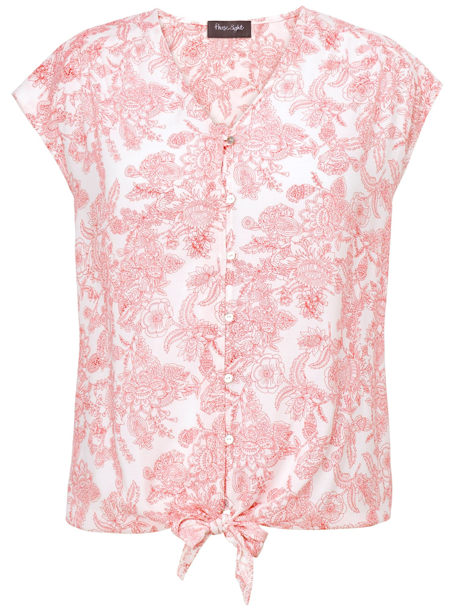 Fearne printed tie front top