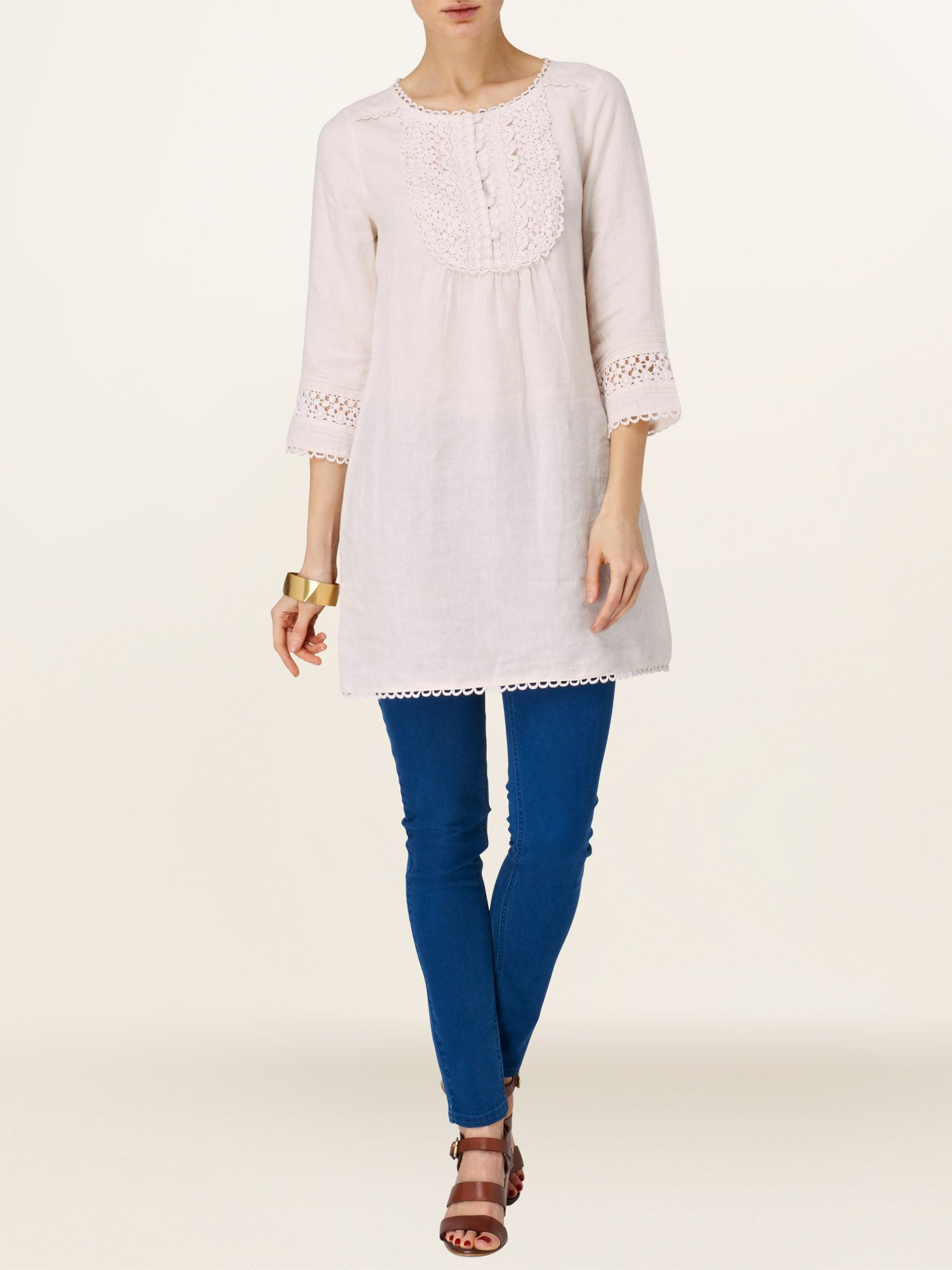 Marianne embroidered bib front tunic
