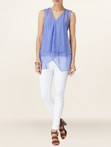 Corinne silk waterfall blouse