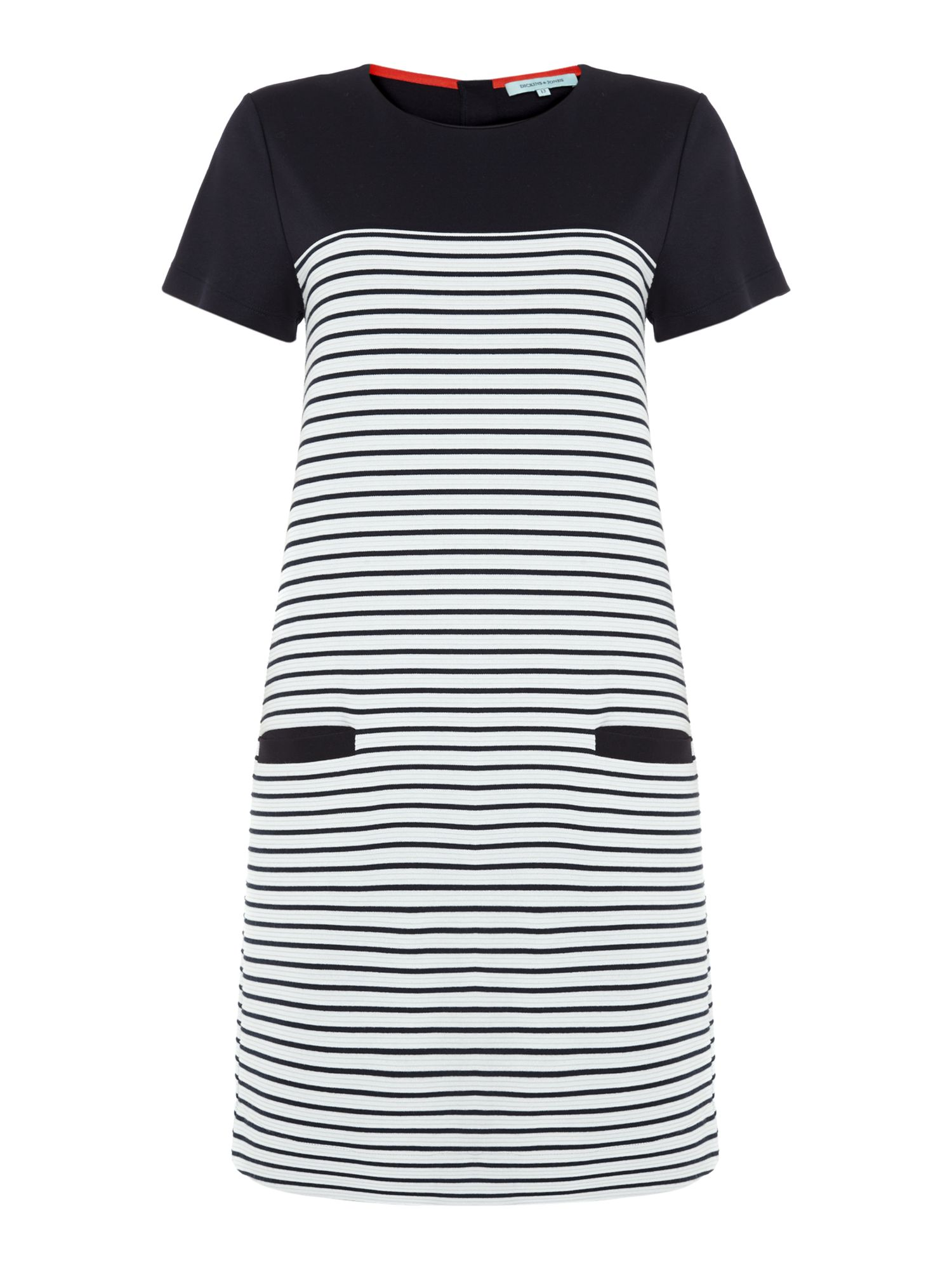 Stripe ponte short sleeve dress