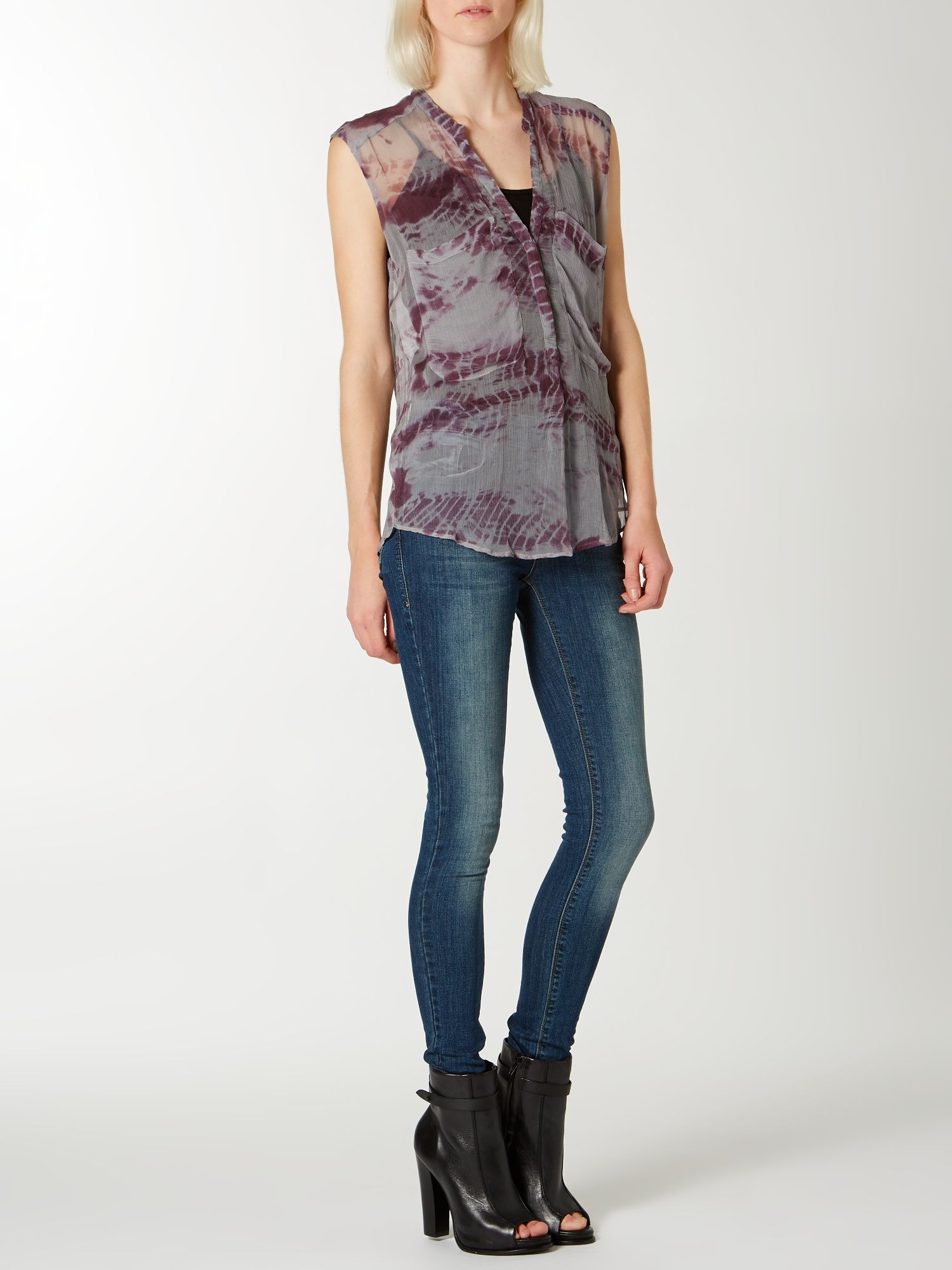 Sleeveless tie dye blouse