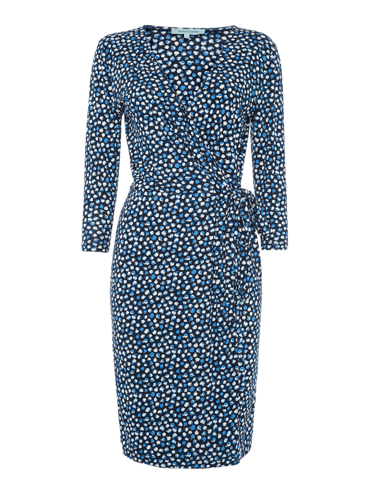 Apple print wrap jersey dress