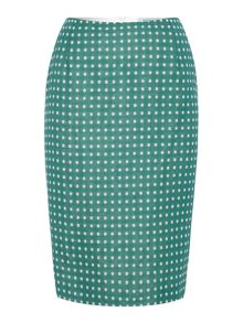 Linen and wool blend spolkadot pencil skirt