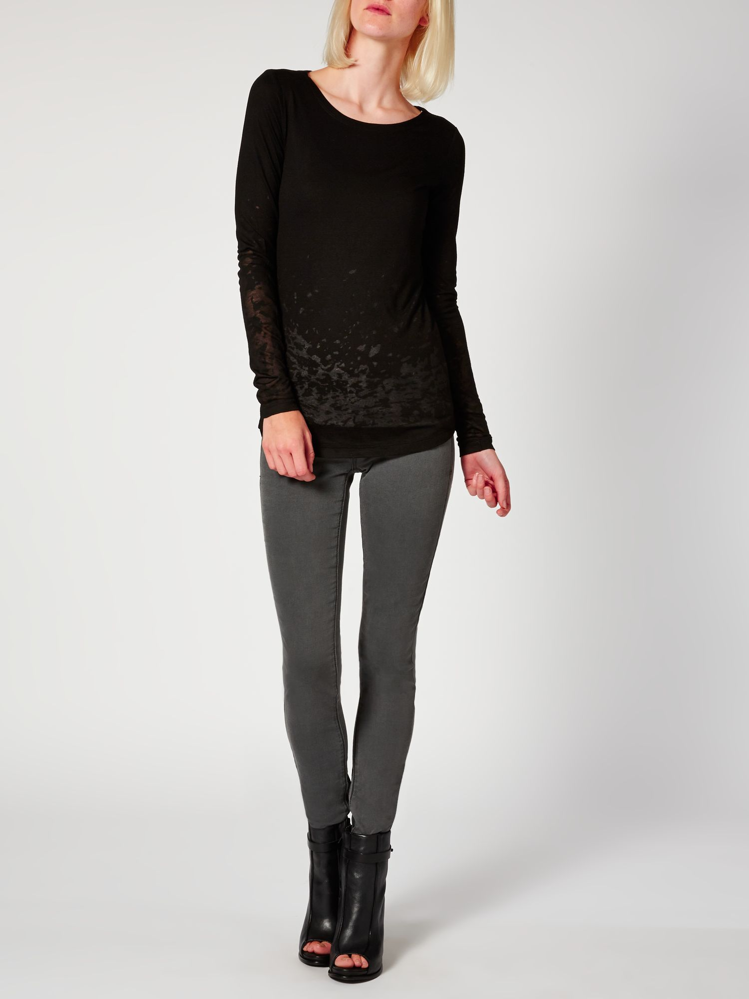 Burnout hem long sleeved top