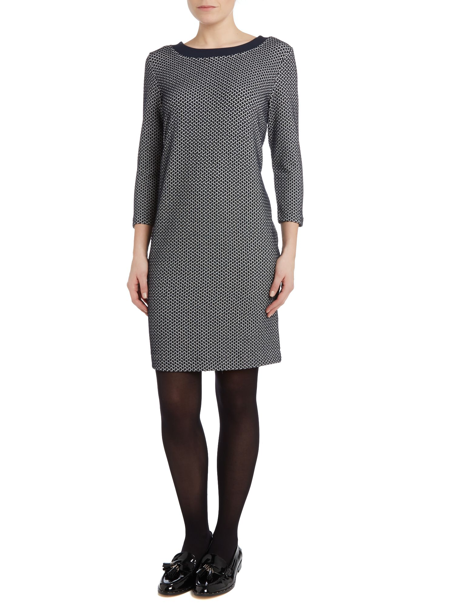 Shift dress with jacquard print