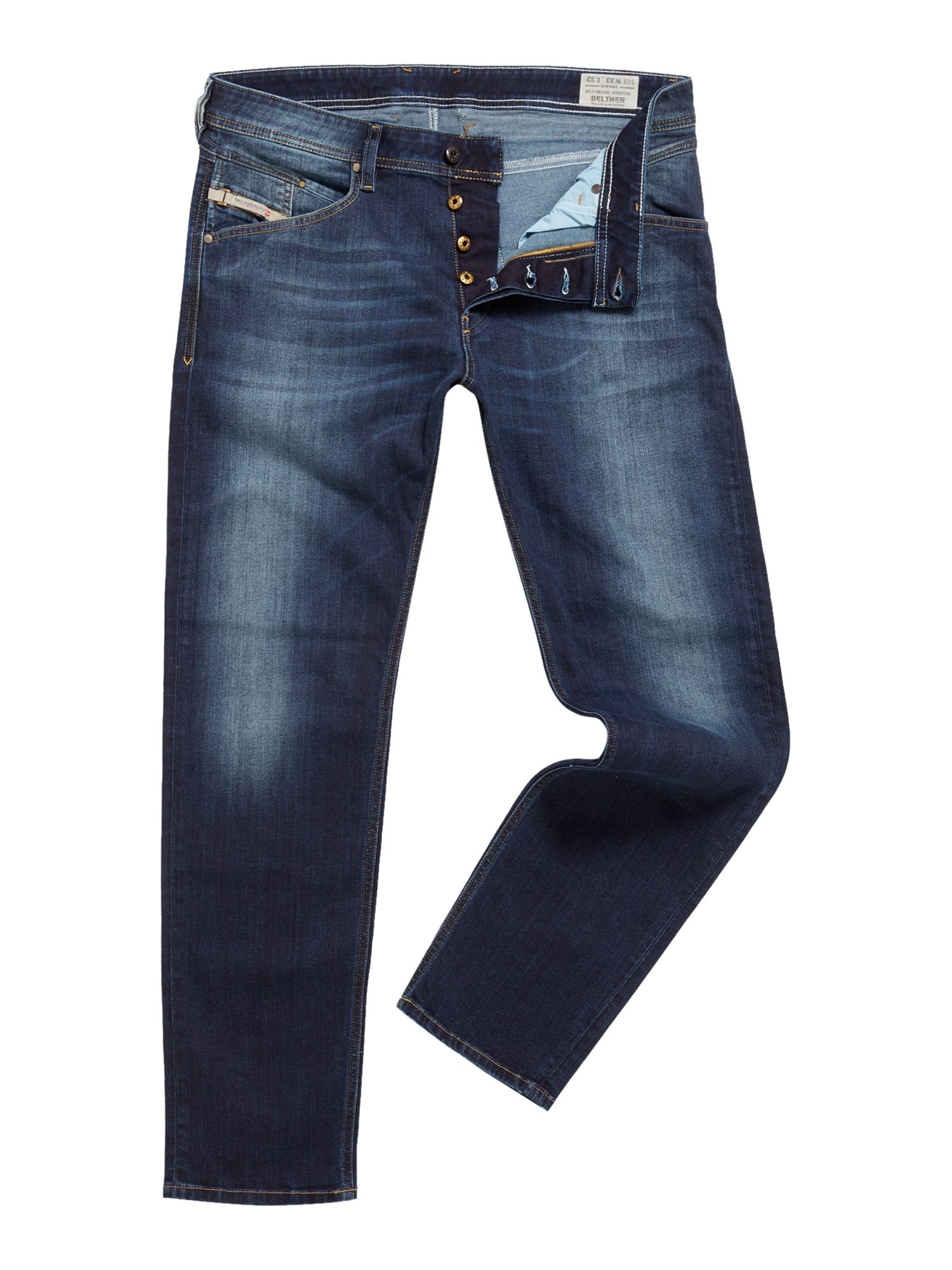 Mens Belther 814w Tapered Fit Stretch Jeans, Denim Dark Wash