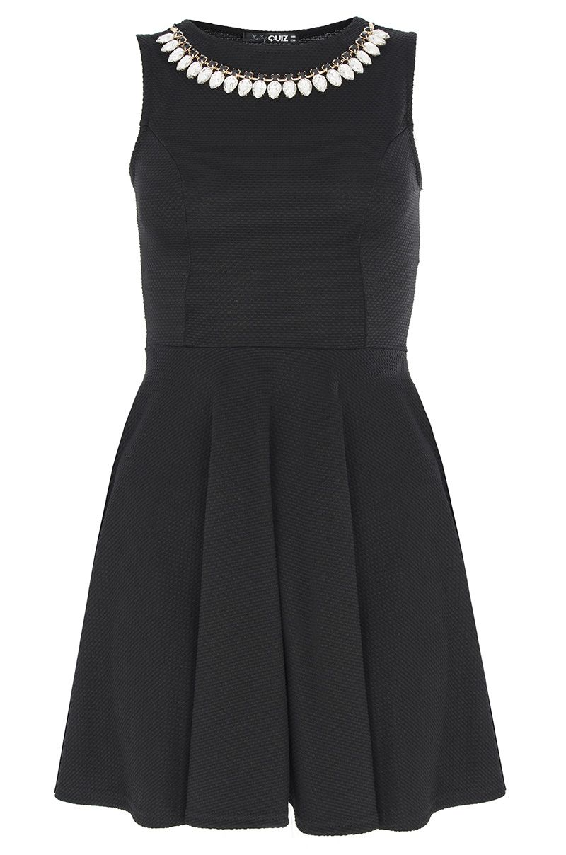 Black necklace skater dress