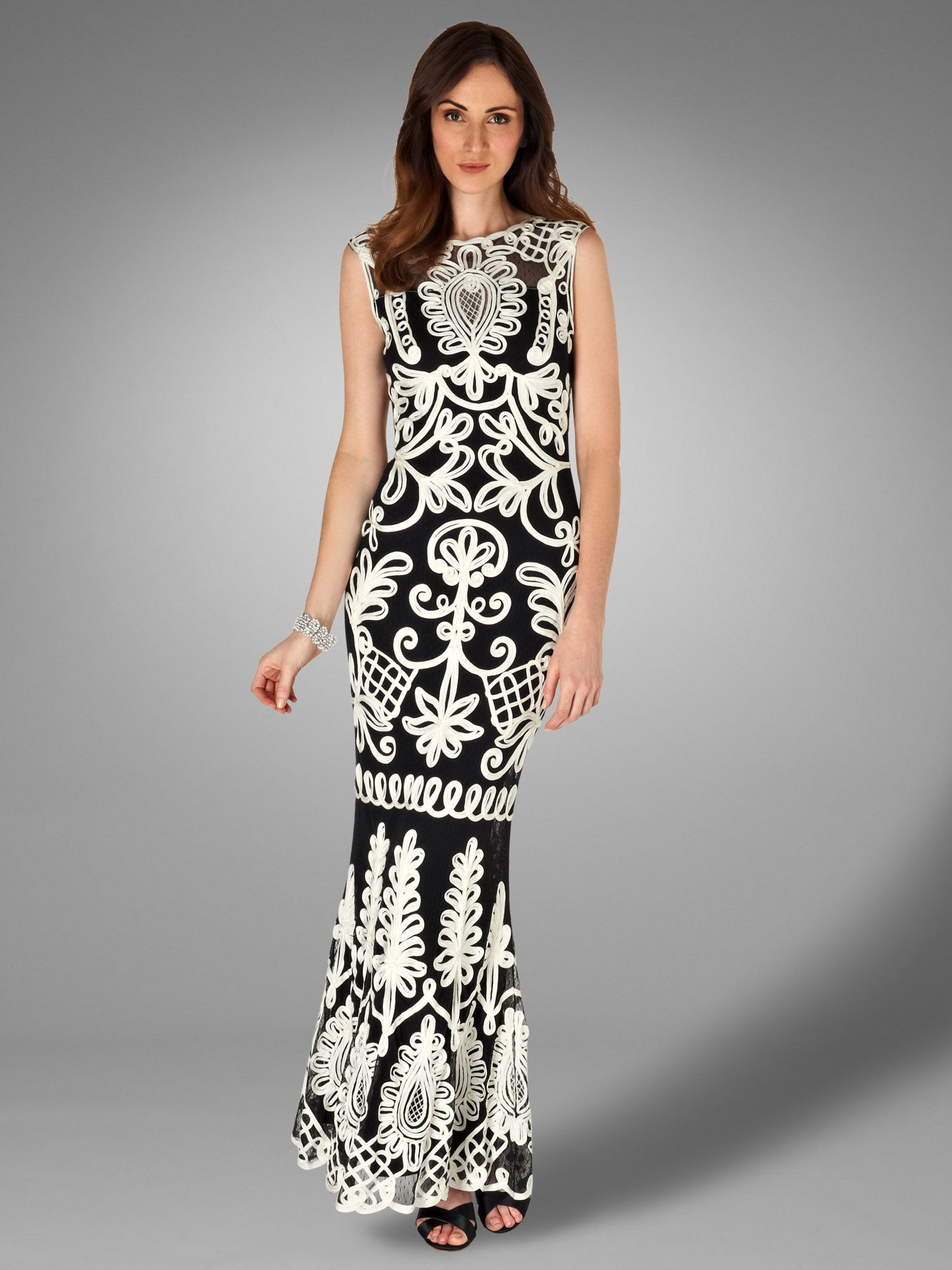 Peninsular tapework full length dress