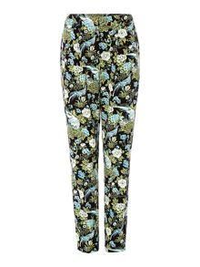 Bird printed slouch trouser