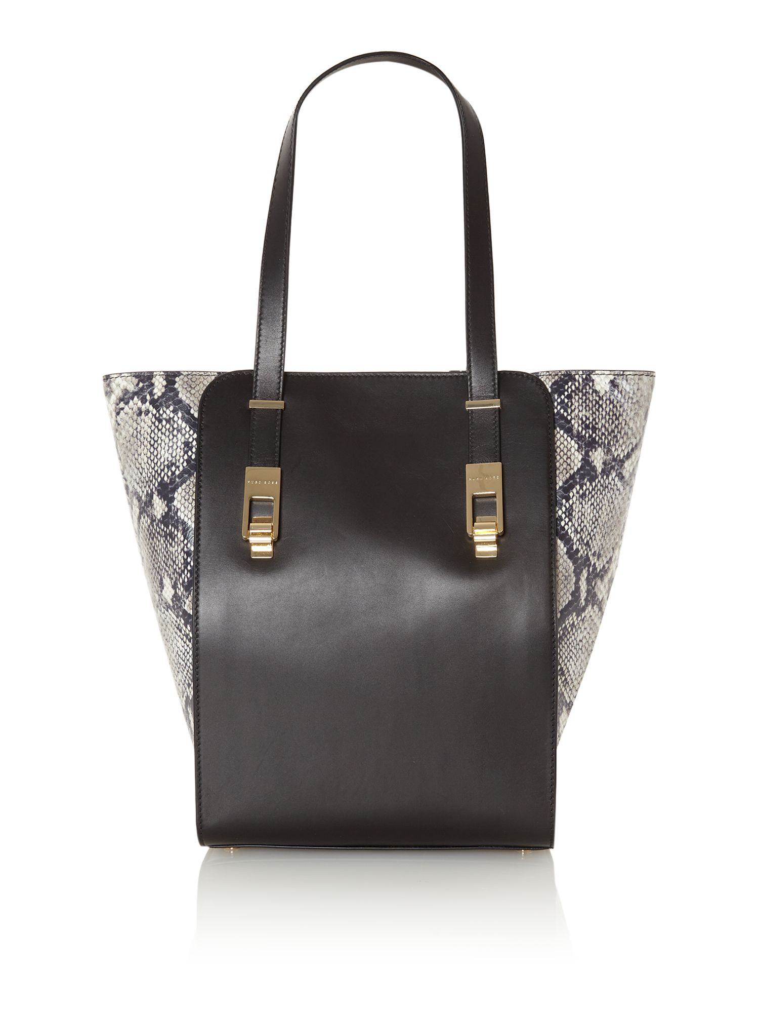 Camely black snake tote bag