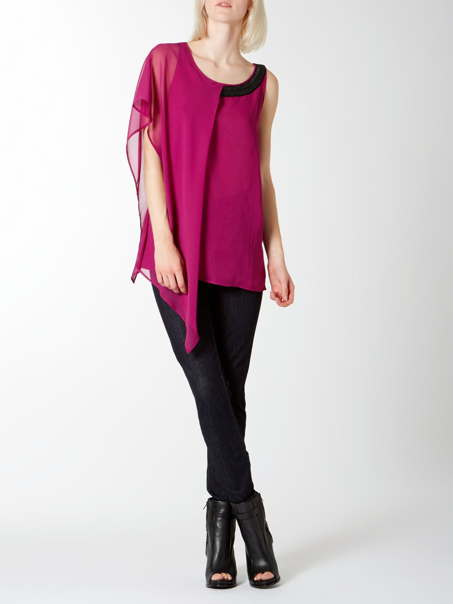 Asymmetric Sleeve Embellished Neck Top