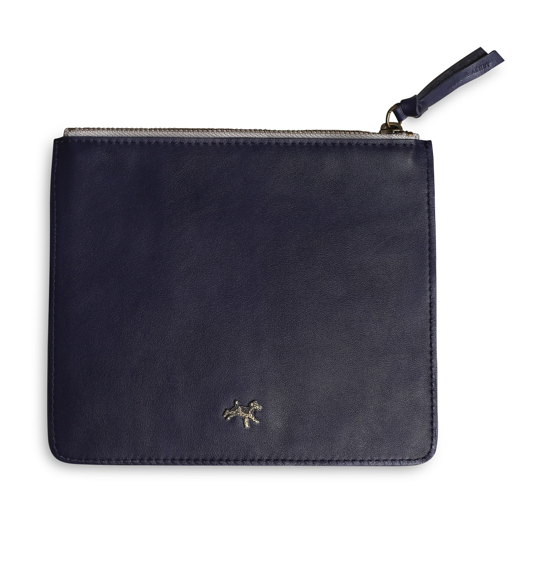 Leather zip pouch in navy