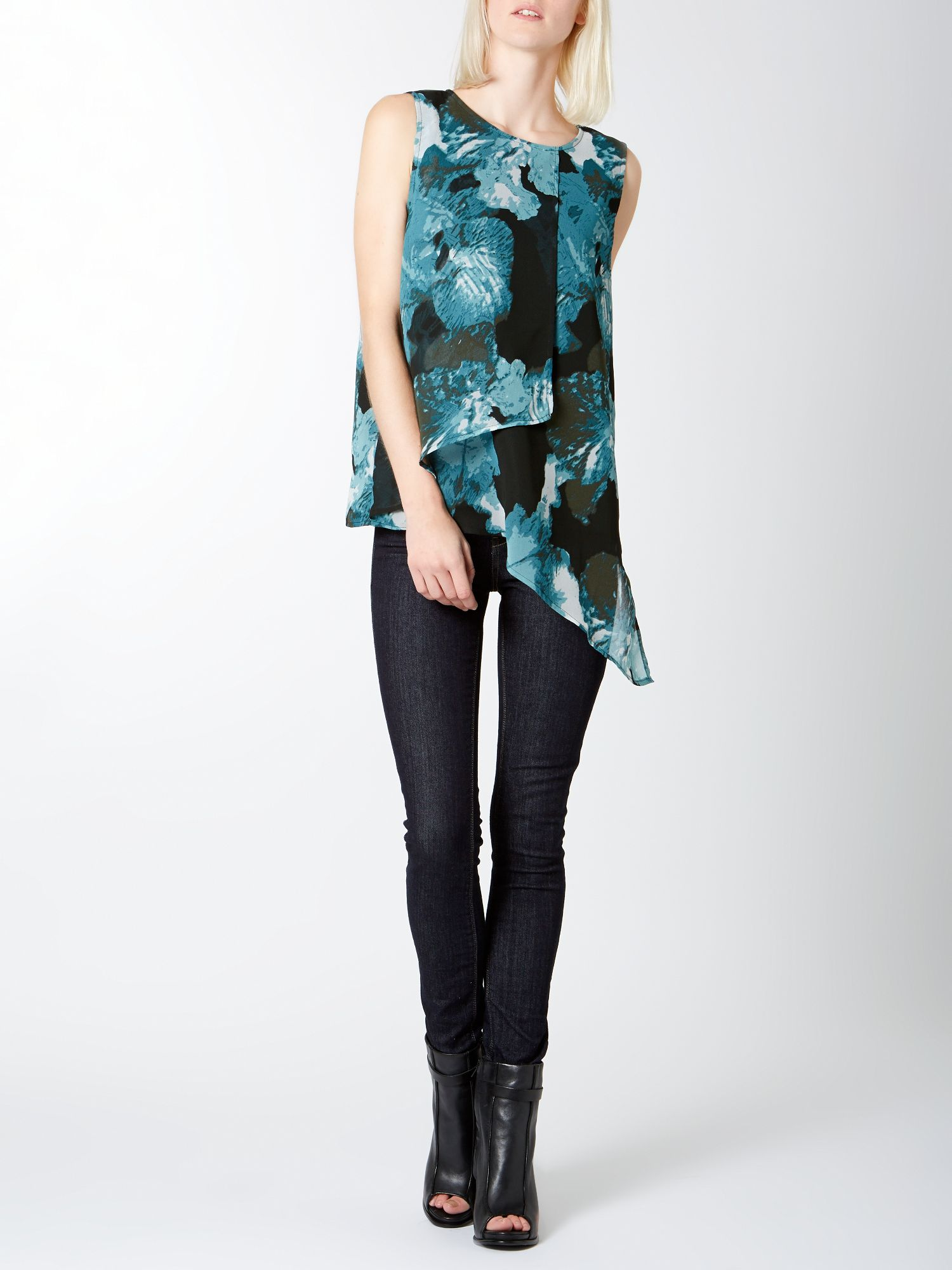 Smudge iris print layered top