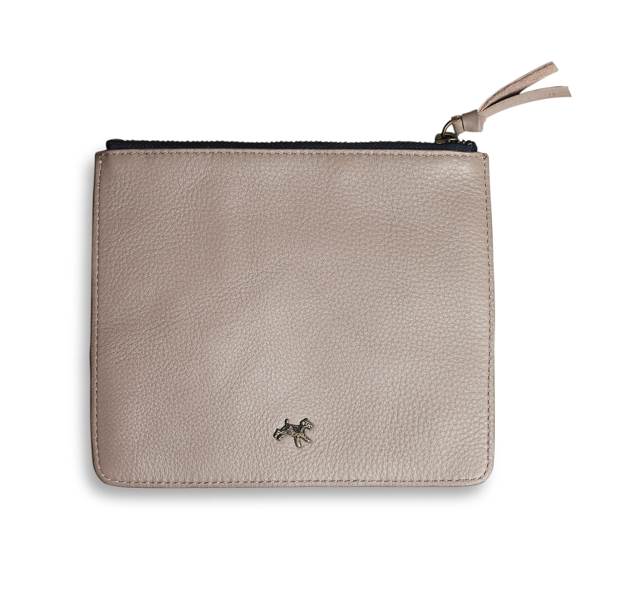 Leather zip pouch in grey
