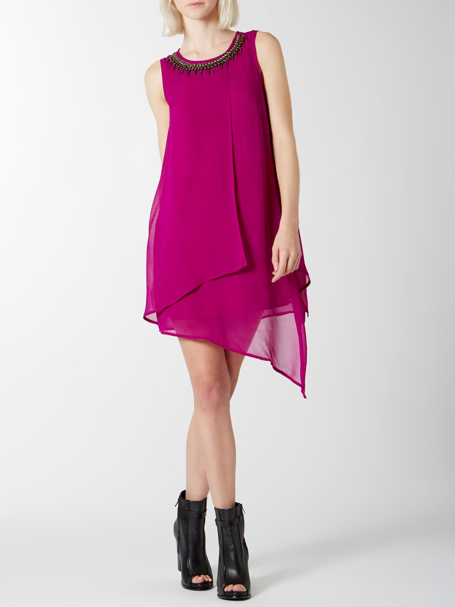 Layered Asymmetric Dress With Necklace Detail