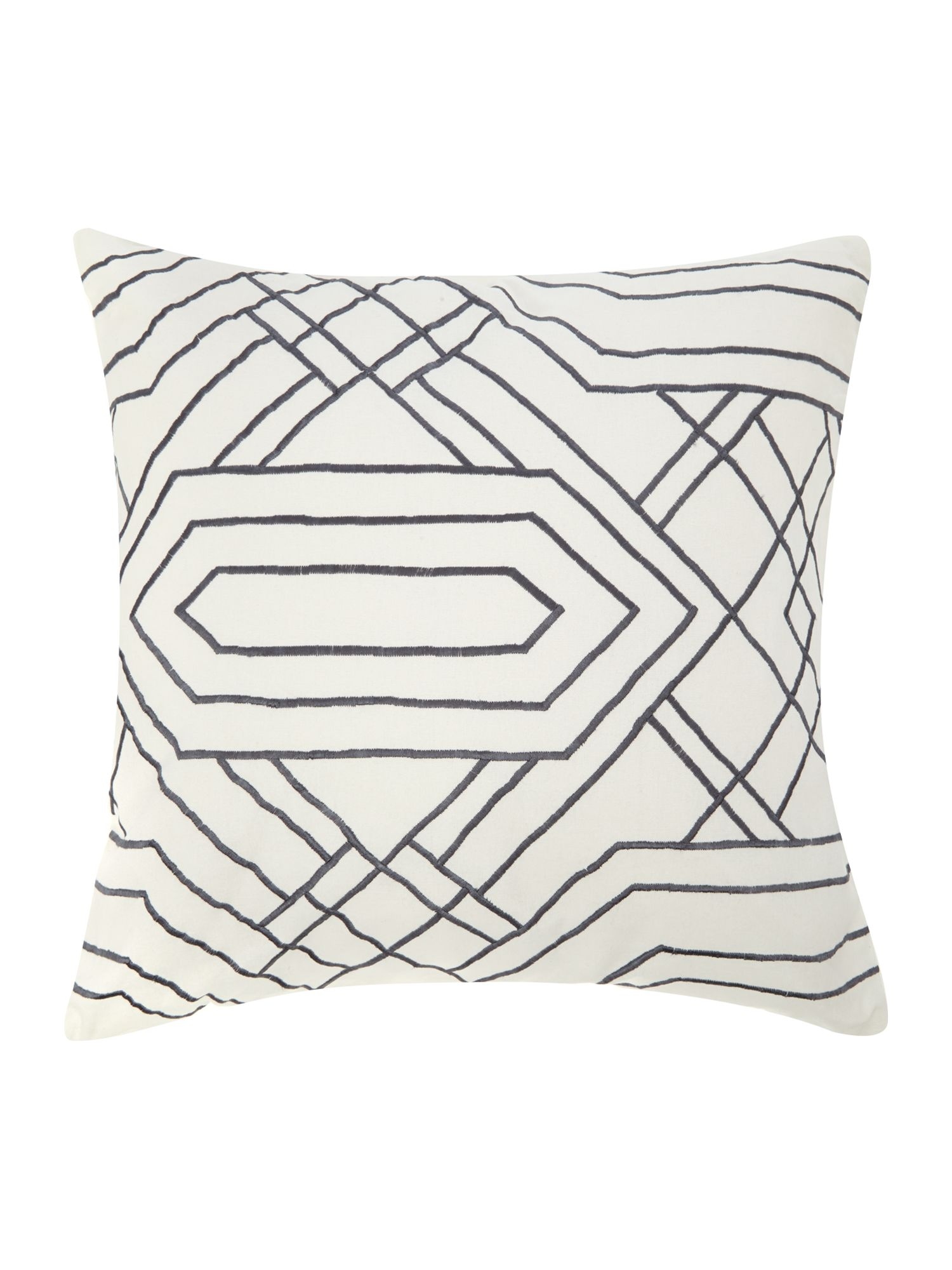 Grey diamond embroidered cushion