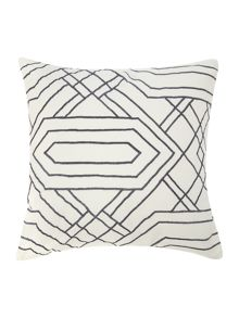 Living by Christiane Lemieux Grey diamond embroidered cushion