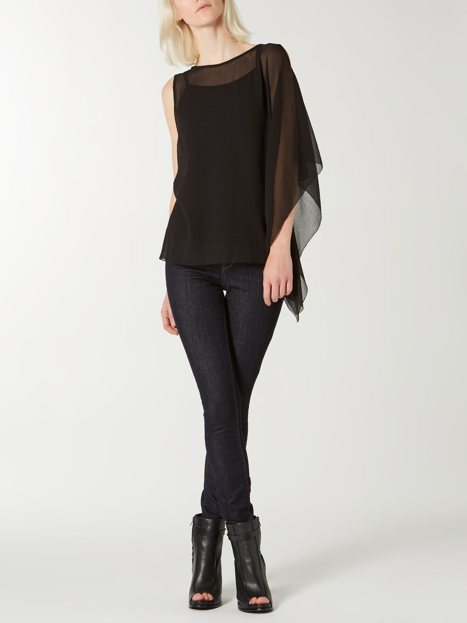 Side frill textured chiffon top