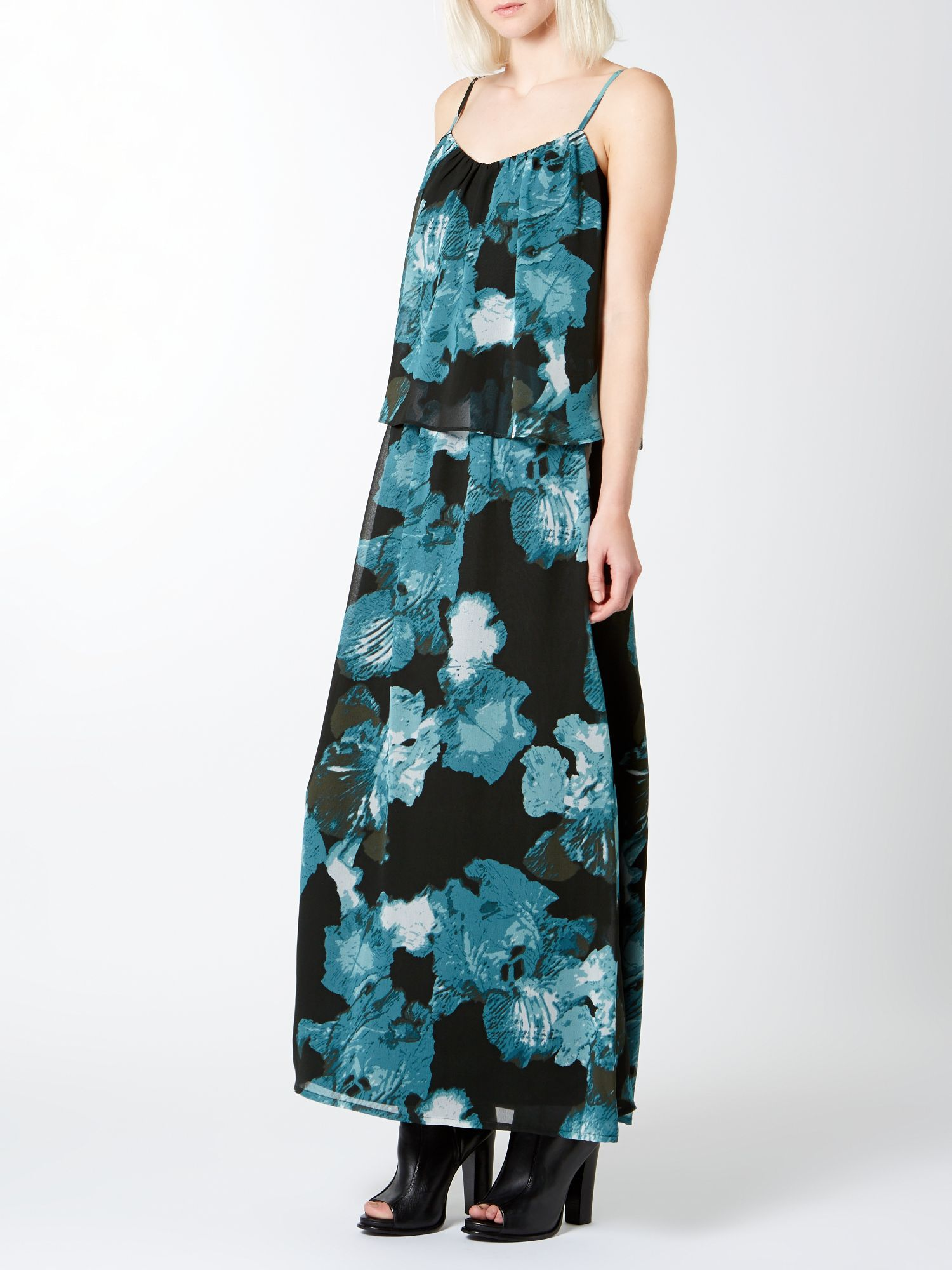 Smudge iris print layer maxi dress