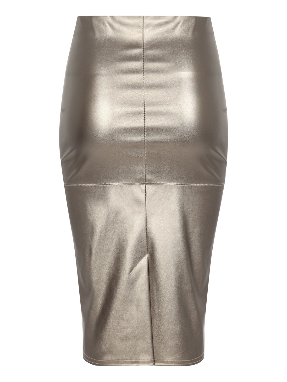 Metallic pu pencil skirt