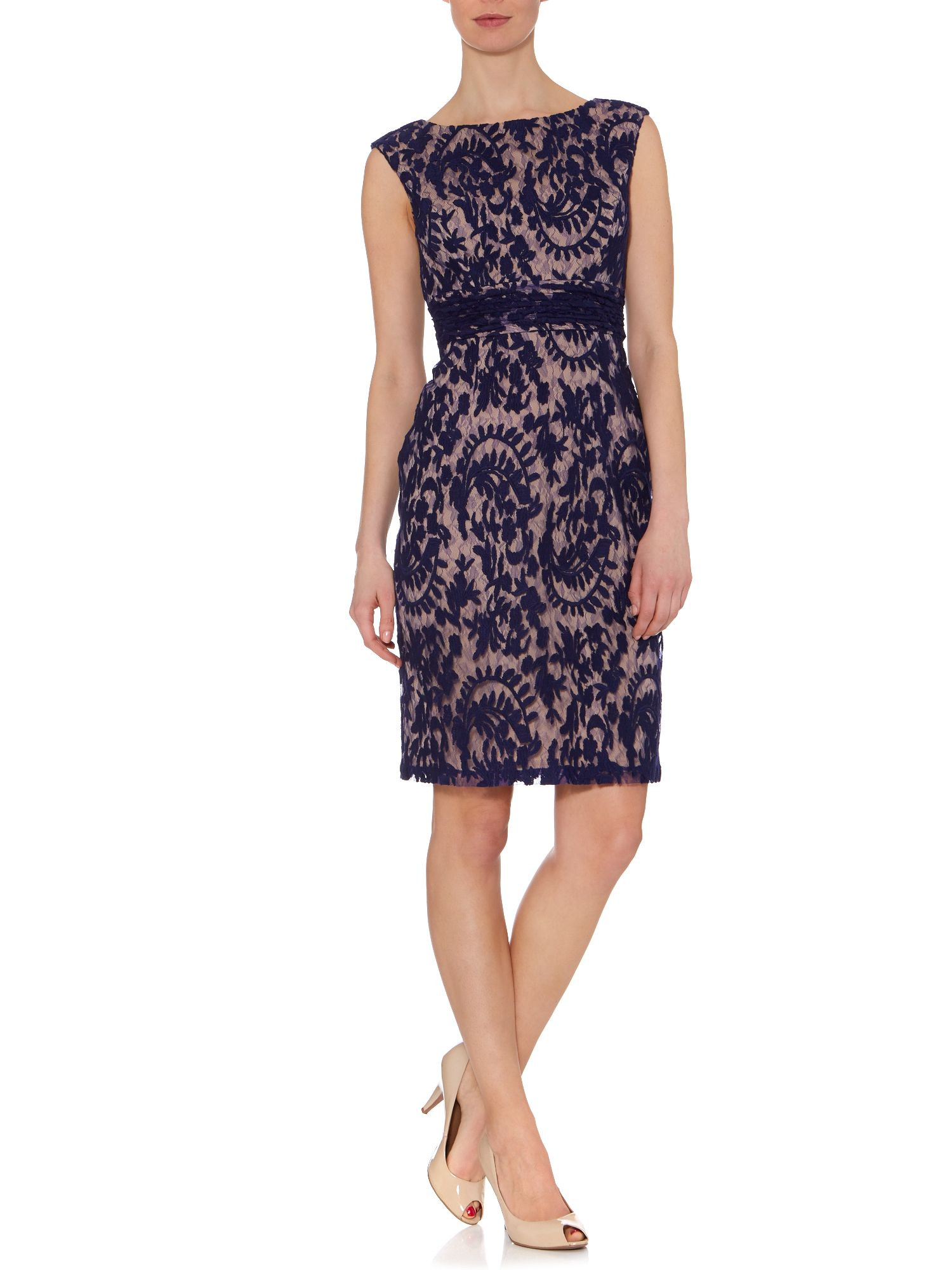 Brocade lace shift dress