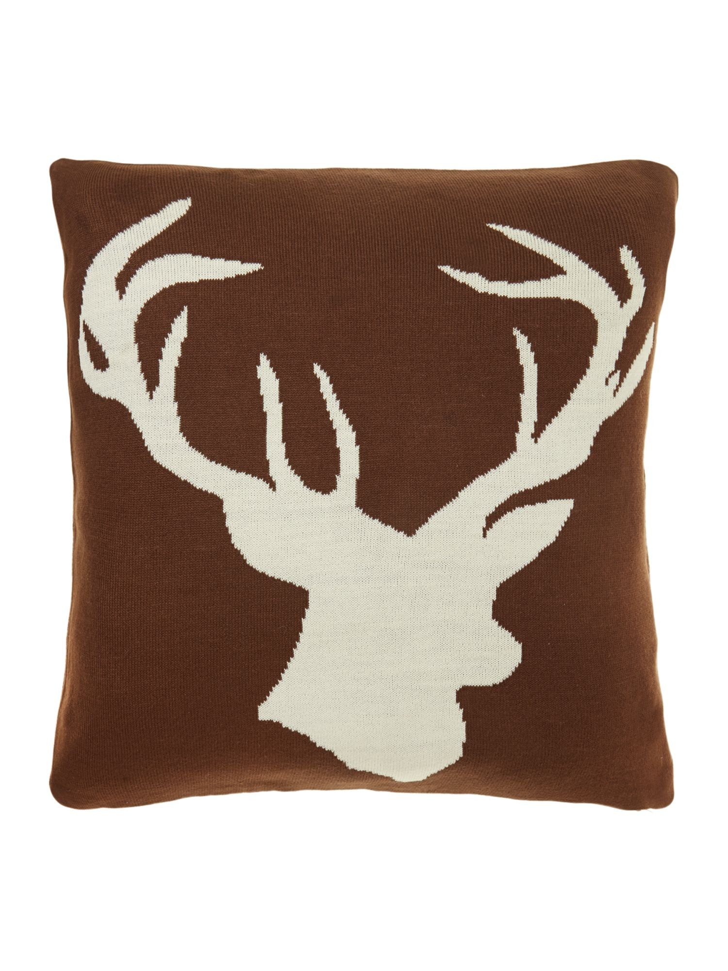 Stag knitted cushion