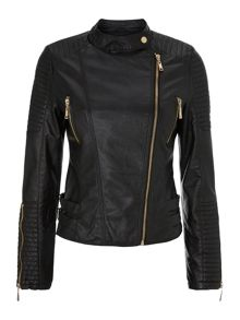 Zip detail PU biker jacket