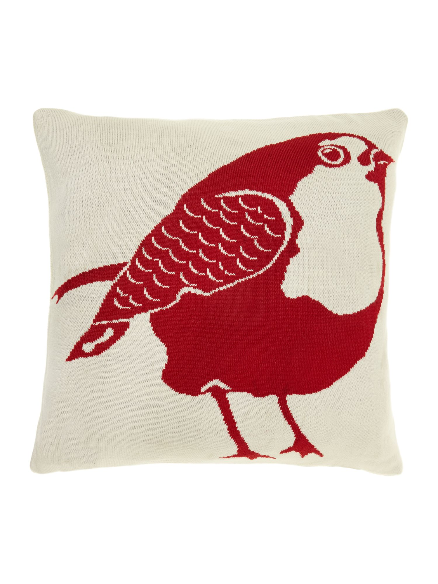Robin knitted cushion, red