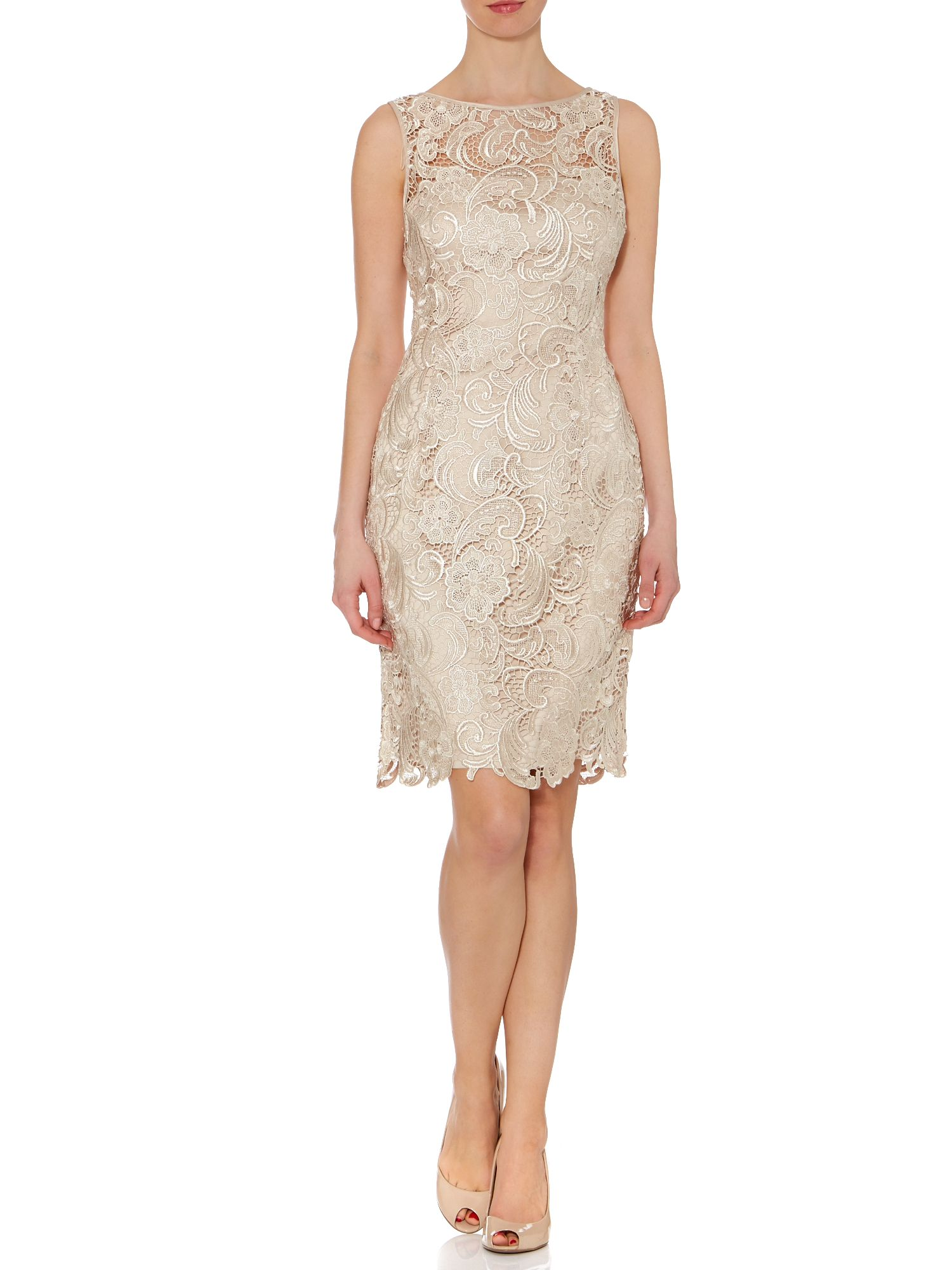 Sleeveless guipure lace shift dress