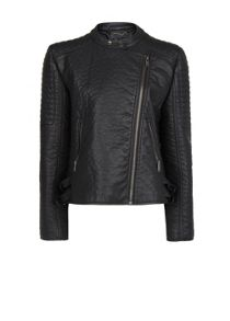 Quilted applique biker jacket