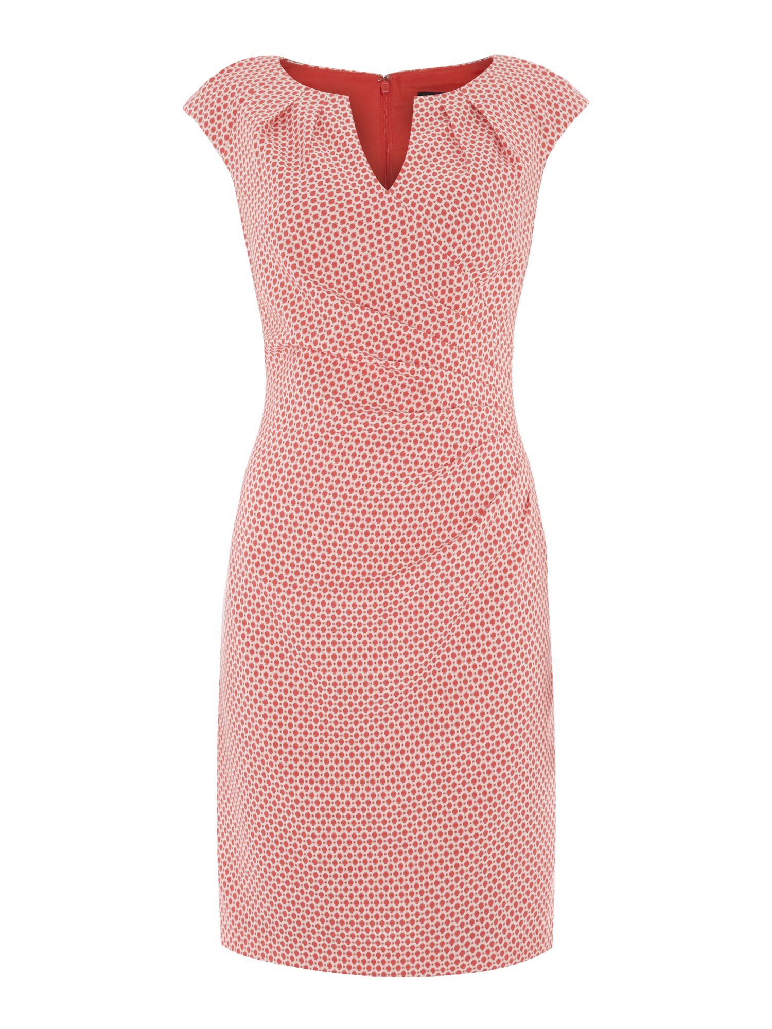 Spot Jaquard Side Pleat Dress
