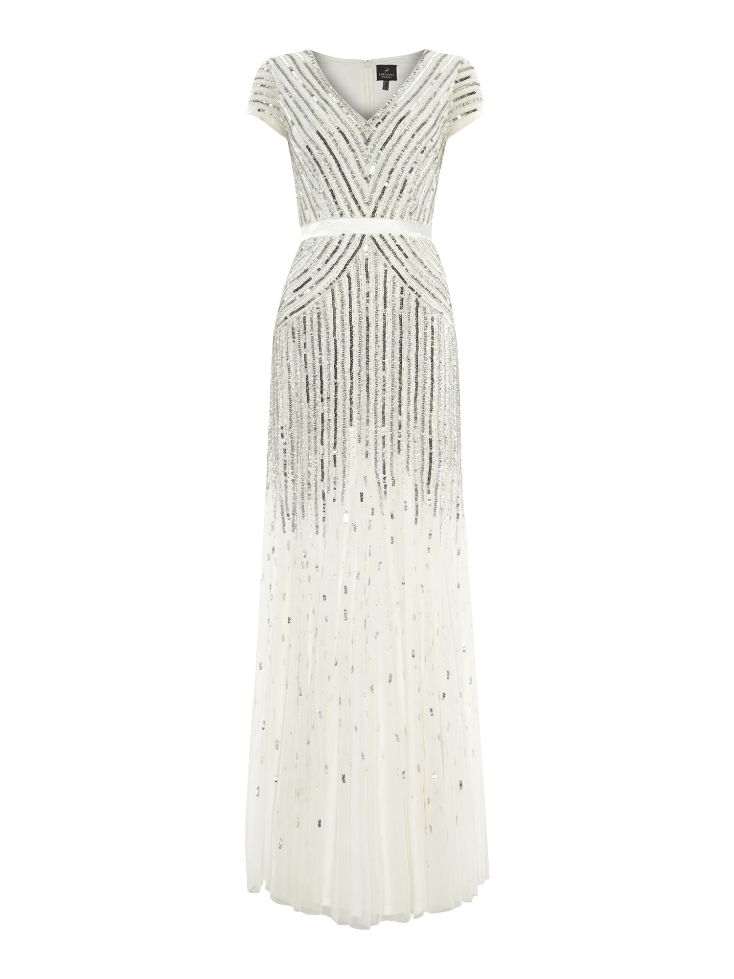Cap sleeve mesh beaded dress