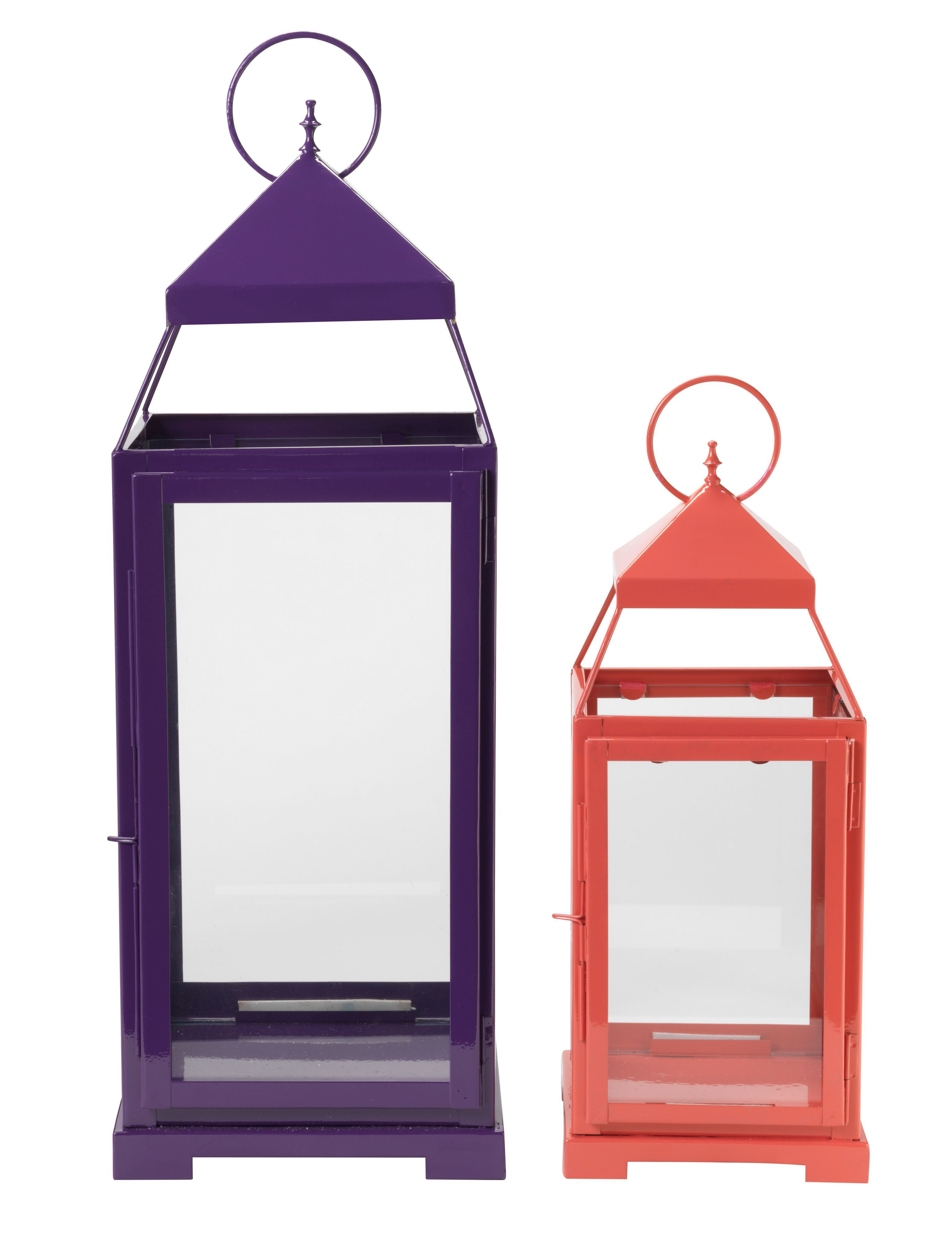 Pink hurricane lantern, medium