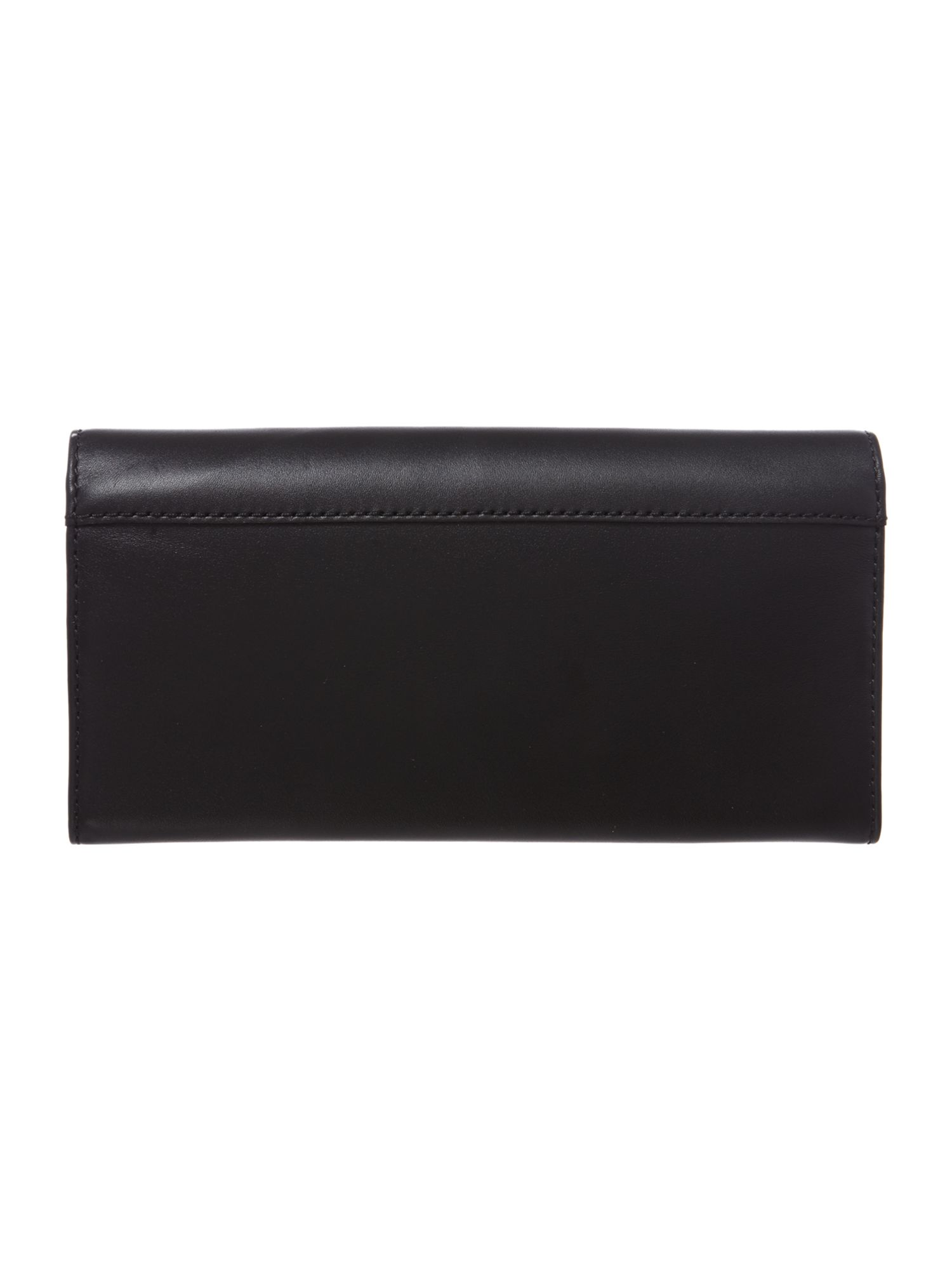 Large black bow leather flapover purse