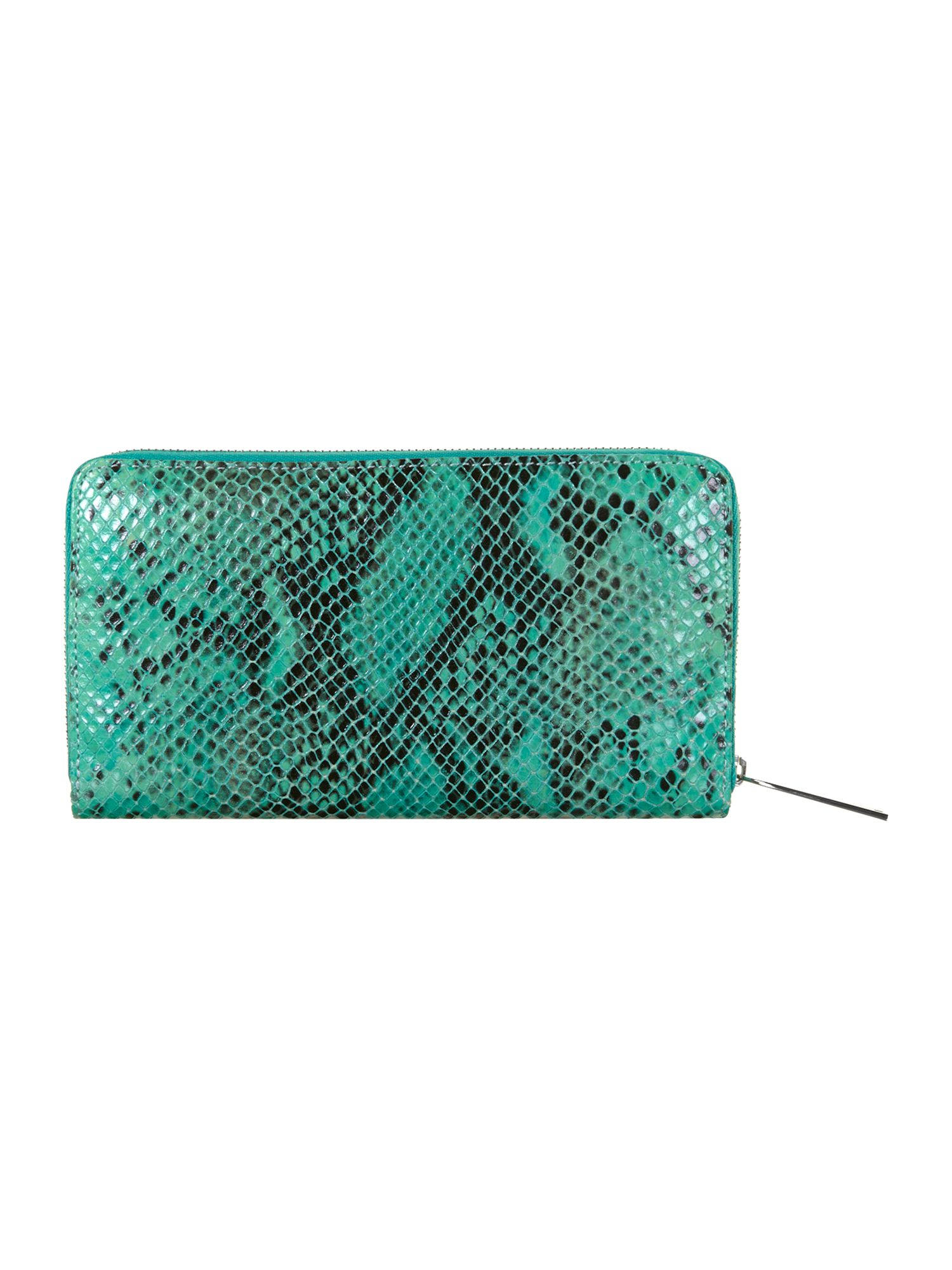 Large green snake ziparound purse