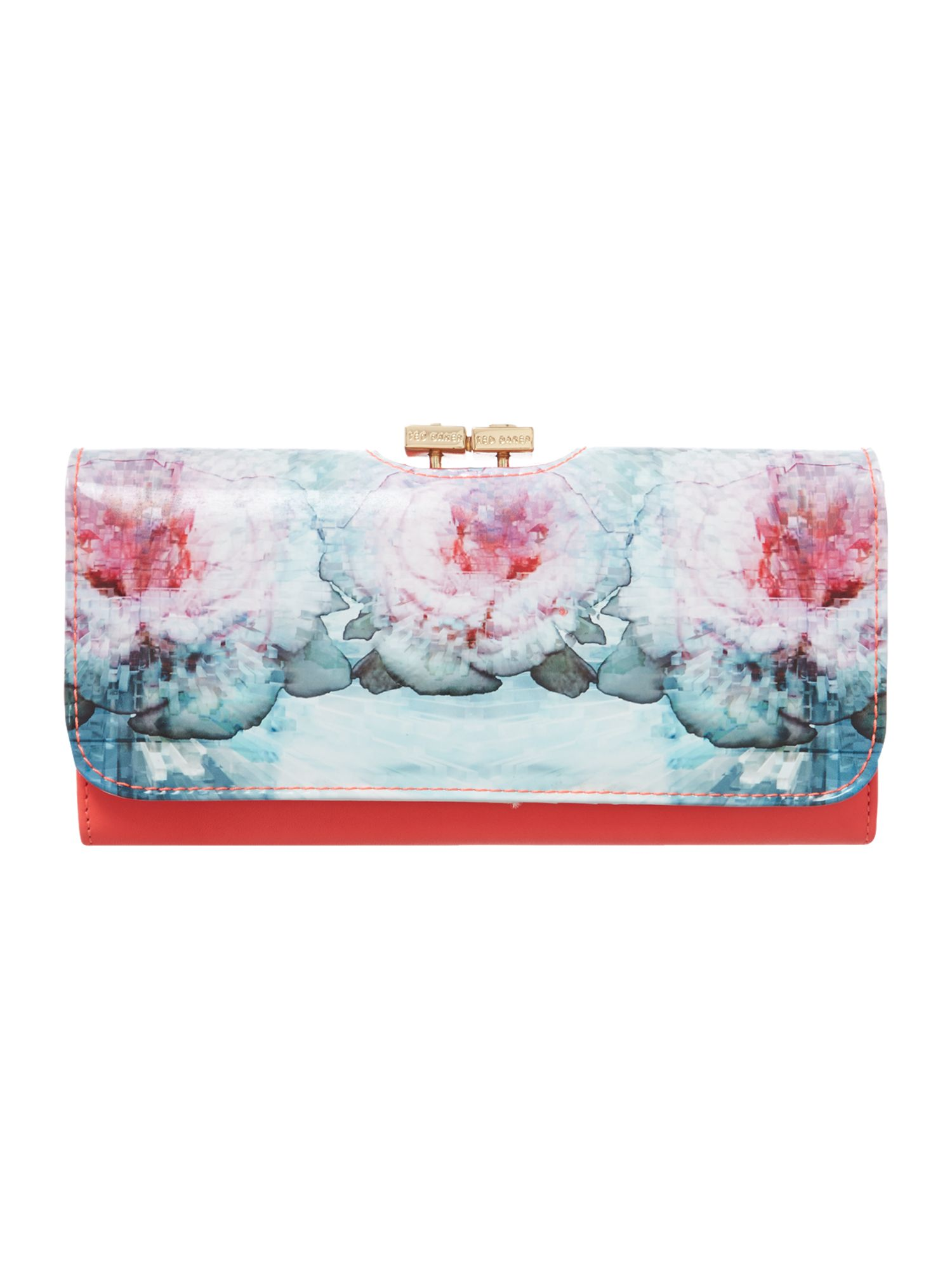 Large blue cubic print flapover purse
