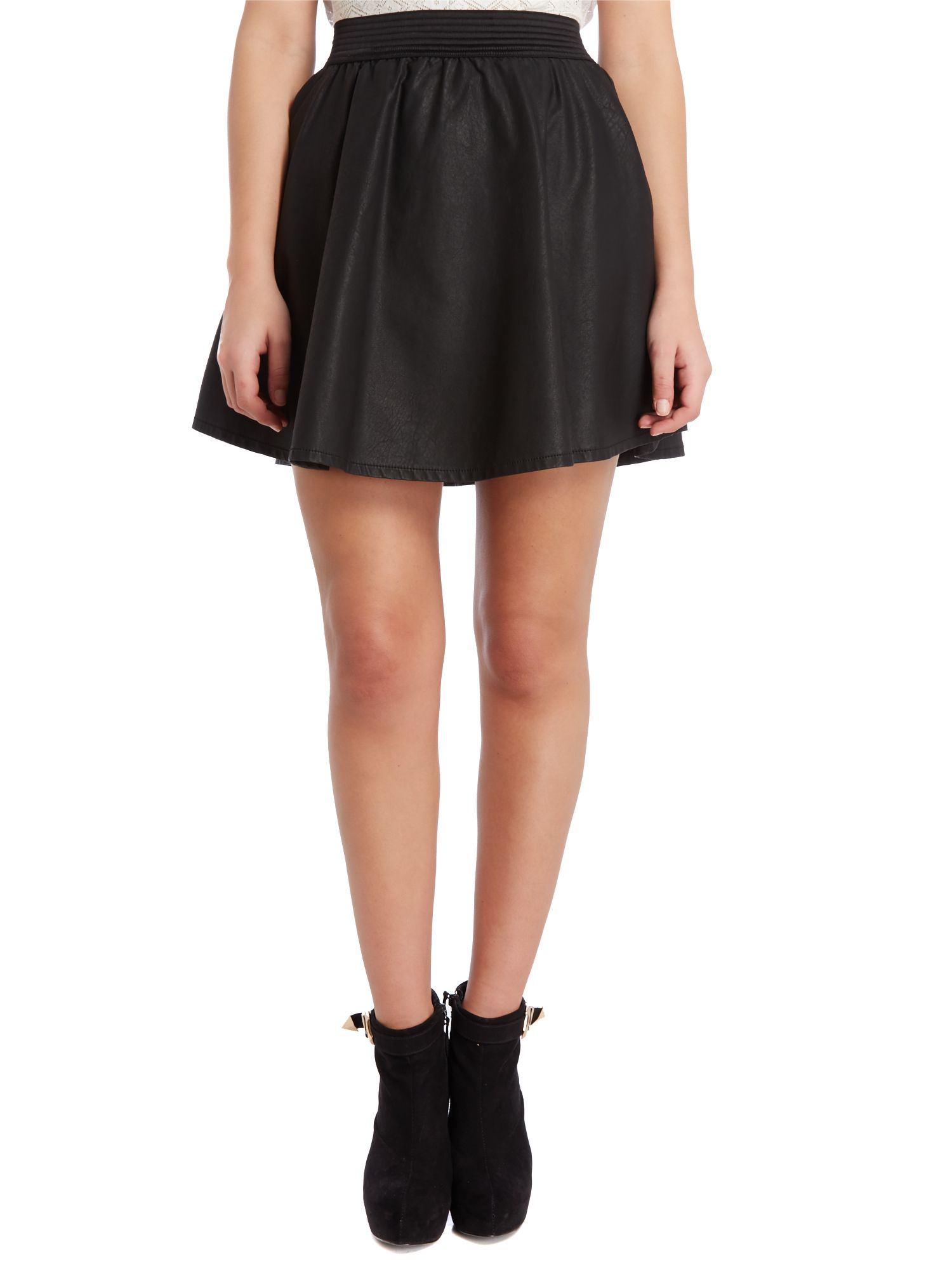 Pu skater mini skirt