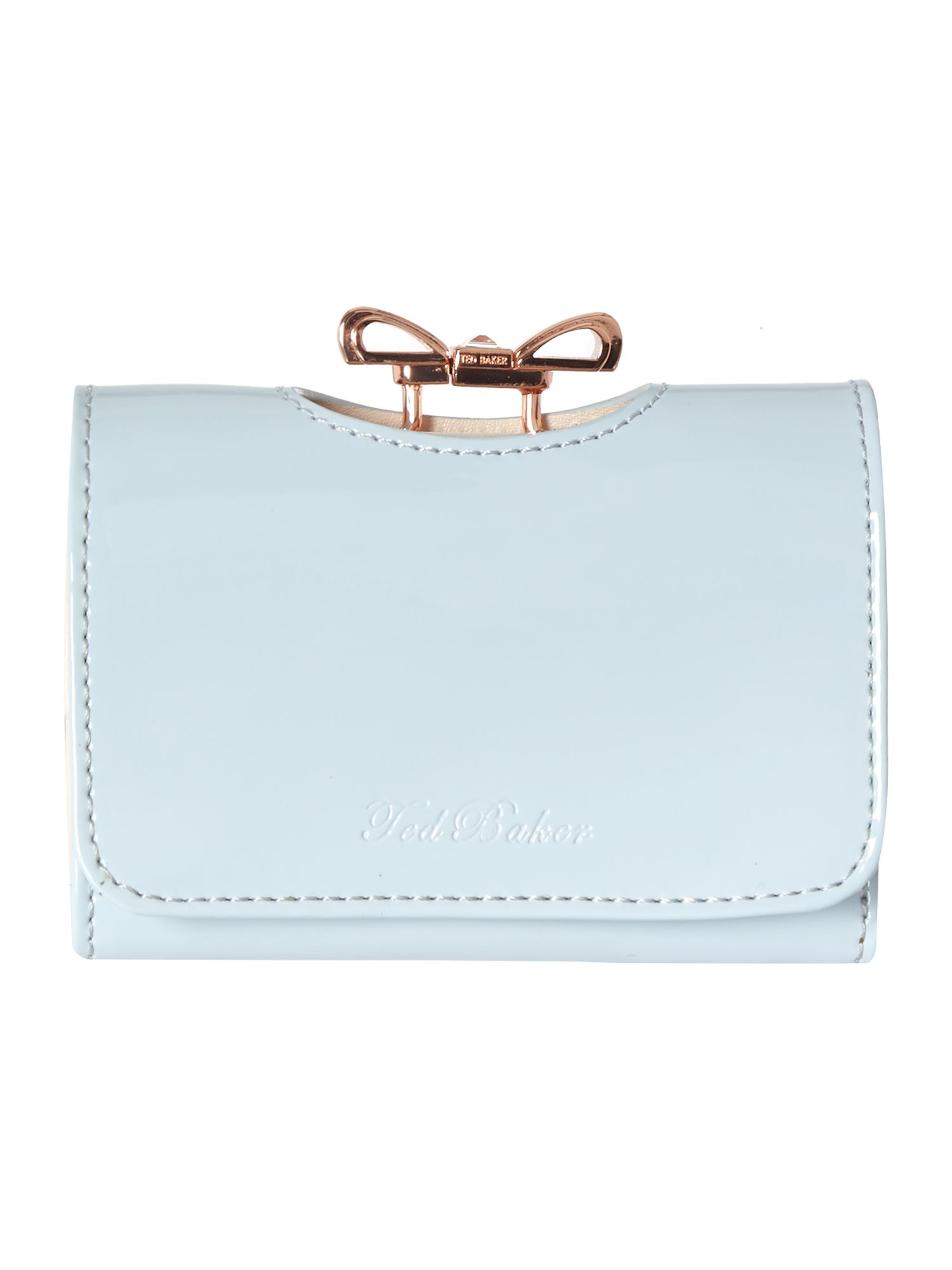 Blue small crystal bow flapover purse